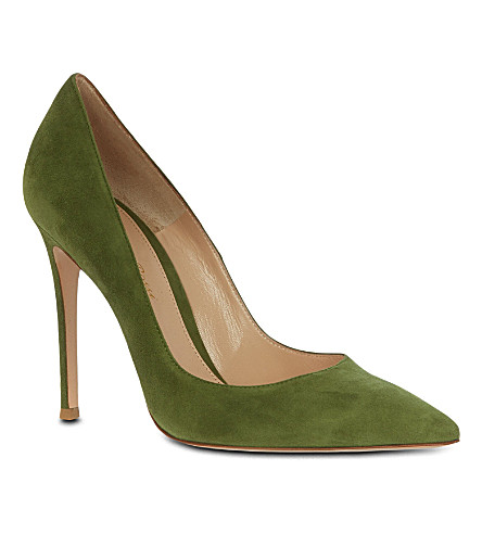 GIANVITO ROSSI Bari green suede court shoes (Khaki