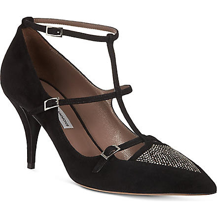 TABITHA SIMMONS Hai suede court shoes (Black/comb