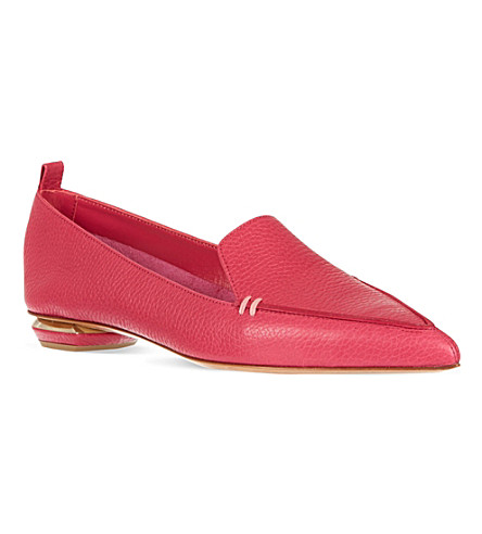 NICHOLAS KIRKWOOD Pointed leather slippers (Fushia