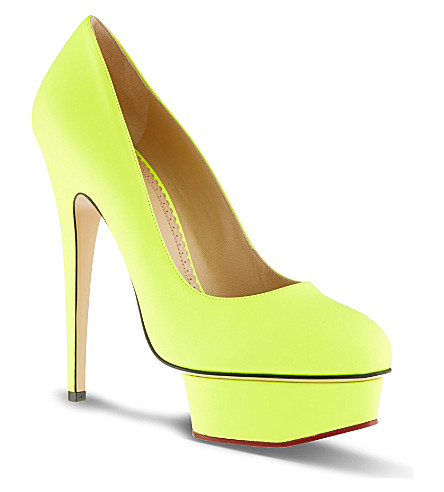 CHARLOTTE OLYMPIA The Dolly Roger platform court shoes (Yellow