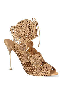 NICHOLAS KIRKWOOD Laser cut lace heeled sandals