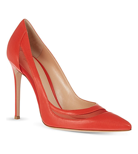 GIANVITO ROSSI Mesh detail court shoes (Red
