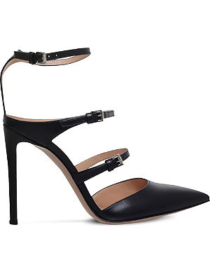 GIANVITO ROSSI Buckled leather heeled pumps