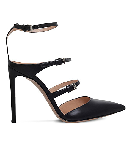 GIANVITO ROSSI Buckled leather heeled pumps (Black