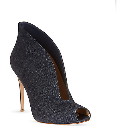 GIANVITO ROSSI Peep toe booties (Denim