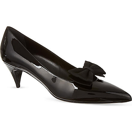 SAINT LAURENT Kitten bow pumps in black patent leather (Black