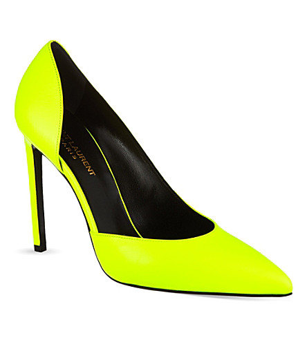 SAINT LAURENT Paris escarpin pumps in neon leather (Yellow