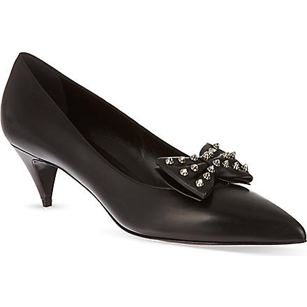 SAINT LAURENT Kitten Studded Bow court shoes (Black