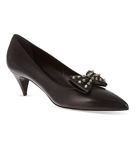 SAINT LAURENT Kitten studded bow pumps in black leather (Black