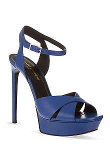 SAINT LAURENT Bianca sandals in blue leather