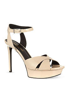 SAINT LAURENT Bianca sandals in nude patent leather