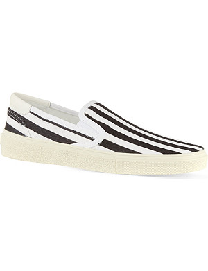 SAINT LAURENT Skate slip-on sneakers in striped canvas