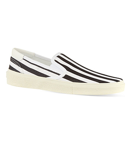 SAINT LAURENT Skate slip-on sneakers in striped canvas (Blk/white