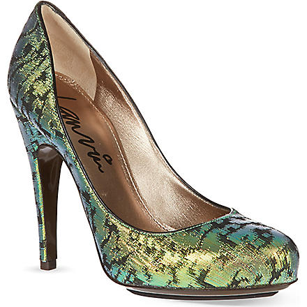 LANVIN Metallic platform pumps (Green