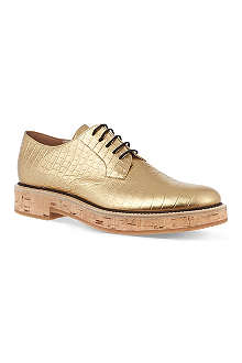 DRIES VAN NOTEN Honeydew metallic Oxford shoes