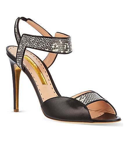 RUPERT SANDERSON Alayne snake-strap sandals (Blk/white