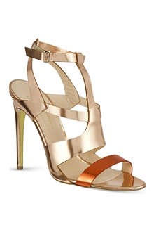 RUPERT SANDERSON Corona metallic heeled sandals