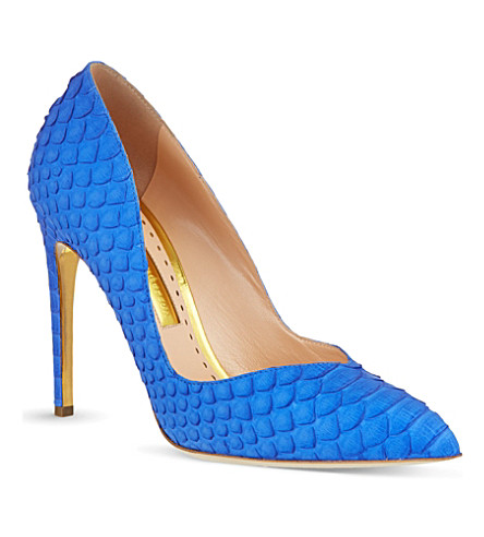 RUPERT SANDERSON Ives snakeskin court shoes (Blue