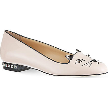 CHARLOTTE OLYMPIA Kitty studded patent slippers (Nude