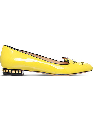 CHARLOTTE OLYMPIA Kitty studded patent slippers