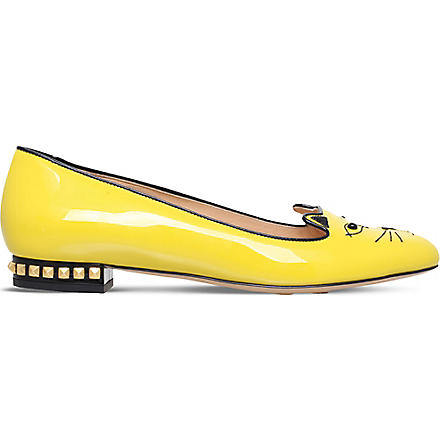 CHARLOTTE OLYMPIA Kitty studded patent slippers (Yellow