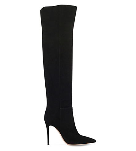GIANVITO ROSSI Camelleo suede over-the-knee boots (Black