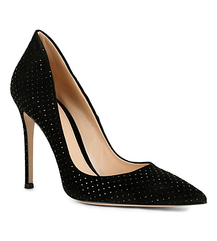 GIANVITO ROSSI Rose suede pointed-toe court shoes (Black