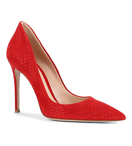 GIANVITO ROSSI Rose suede pointed-toe court shoes (Red