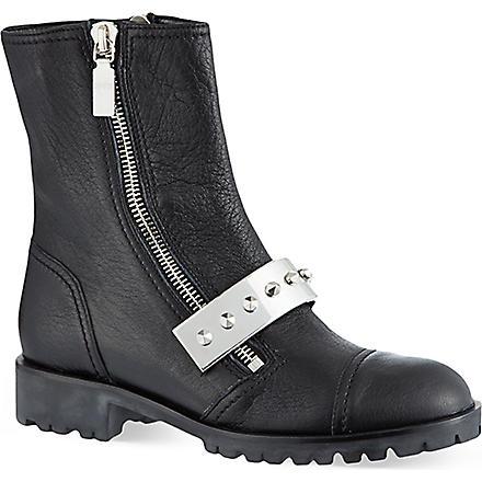 ALEXANDER MCQUEEN Studded plate biker boots (Black
