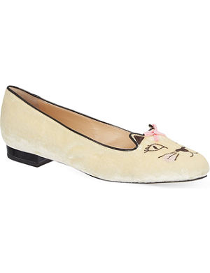 CHARLOTTE OLYMPIA Pretty Kitty velvet slippers