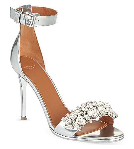 GIVENCHY Metallic Crystal Ankle-Strap Sandal