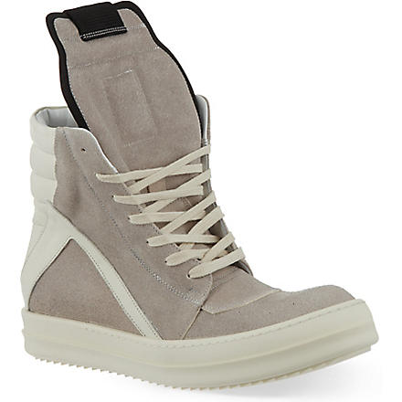 RICK OWENS Geobasket zip-up hi-top sneakers (Grey/p.cmb