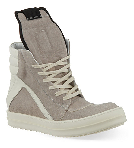 RICK OWENS Geobasket zip-up hi-top sneakers (Grey/p.cmb