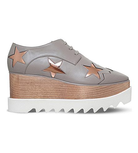 STELLA MCCARTNEY Elyse stars faux-leather flatform brogues (Grey/light