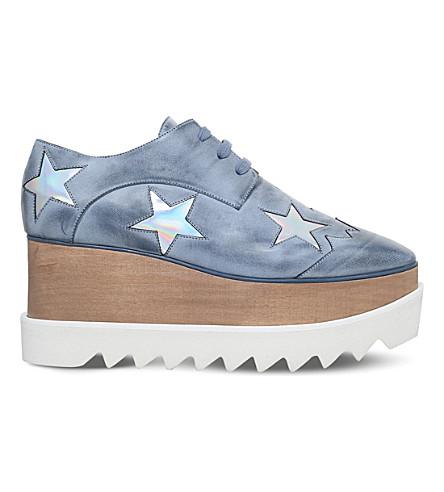 STELLA MCCARTNEY Elyse stars faux-leather flatform brogues (Denim