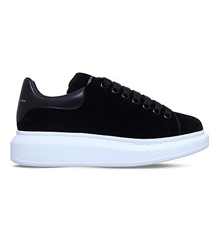 ALEXANDER MCQUEEN Show velvet and leather platform trainers (Black