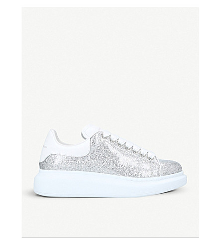 ALEXANDER MCQUEEN Runway glittered leather trainers (Silver