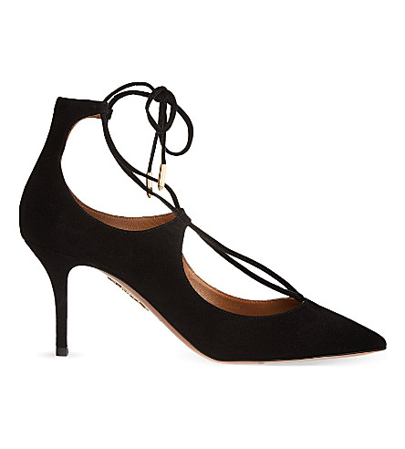 AQUAZZURA Christy 75 suede courts (Black