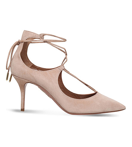 AQUAZZURA Christy 75 suede courts (Taupe