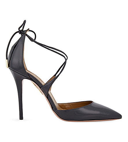 AQUAZZURA Matilde patent-leather courts (Black