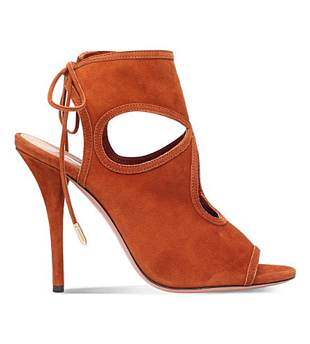 AQUAZZURA Sexy thing suede heeled sandals (Mid+brown