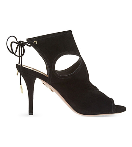 AQUAZZURA Sexy Thing suede heeled sandals (Black