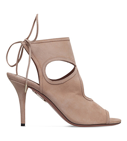 AQUAZZURA Sexy thing suede heeled sandals (Taupe