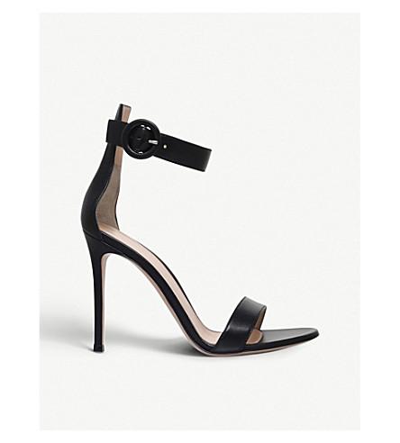 GIANVITO ROSSI 波托菲诺皮革凉鞋 (黑色