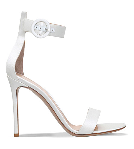 GIANVITO ROSSI Como satin heeled sandals (Winter wht