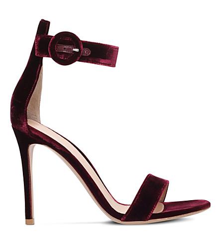 GIANVITO ROSSI Portofino 105 velvet heeled sandals (Wine+comb
