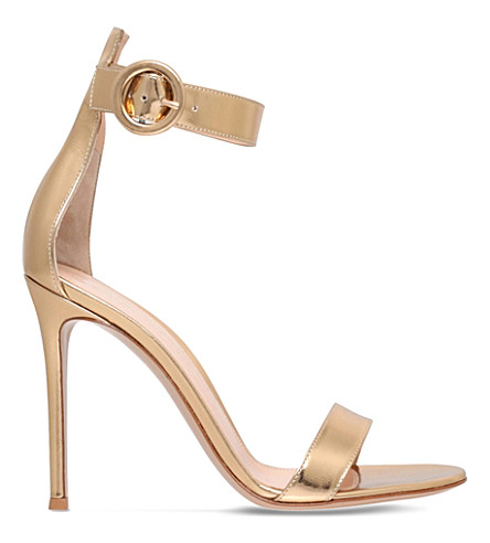 GIANVITO ROSSI Como leather heeled sandals (Gold
