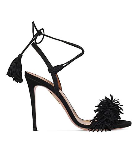 AQUAZZURA Wild Thing suede heeled sandals (Black