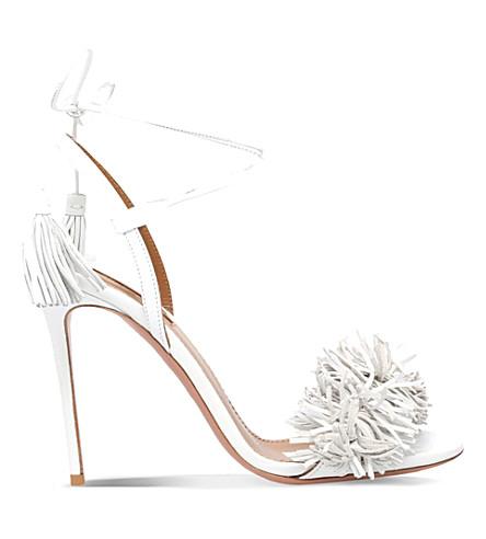 AQUAZZURA Wild thing suede heeled sandals (White