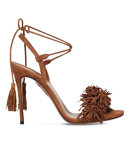 AQUAZZURA Wild Thing suede heeled sandals (Mid+brown